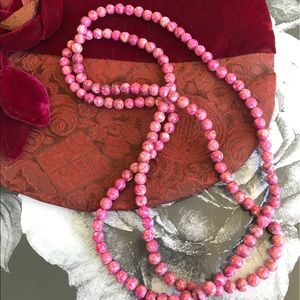 Pink Stone Necklace (Real stone made into Beads )